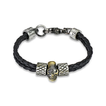 Black Leather Braided Bracelet with Steel Skull And Scaled Charms