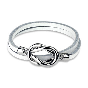 White Leather Double Loop Bracelet With Steel Knot Closure Design
