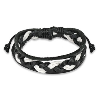 Black & White Leather Bracelet With Double Strings Weaved Center