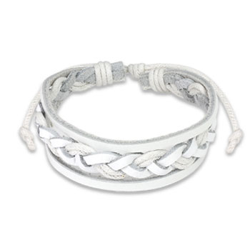 White Leather Bracelet with Double Strings Weaved Center