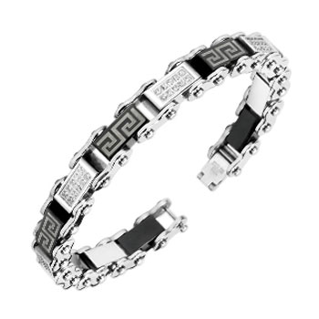 316L Stainless Steel Bracelet With Paved Gem & Maze Pattern Link