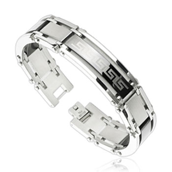 316L Stainless Steel Link Bracelet with Tribal Logo