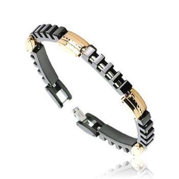 316L Stainless Steel Link Bracelet With Segmented Black Rectangles