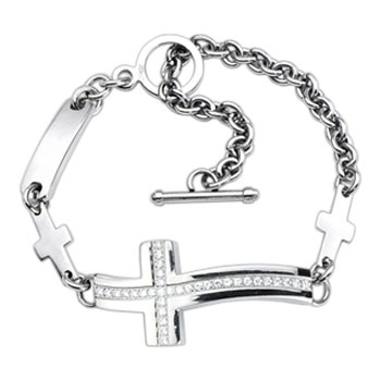 316L Stainless Steel Gemmed Cross Bracelet With Small Chain