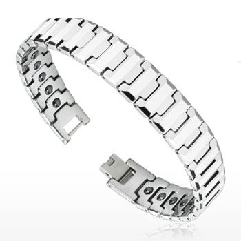 Tungsten Carbide Flat Faceted Bio-Magnetic Bracelet