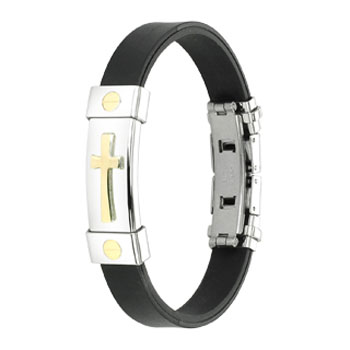 316L Stainless Steel Gold Tone Cross ID Plate Rubber Bracelet