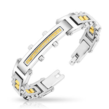 316L Stainless Steel Bracelet With Paved Gem Gold Plate & IP Gold Bolts