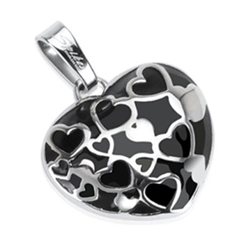 Stainless Steel Black Onyx Multi-Hearts in a Heart Pendant