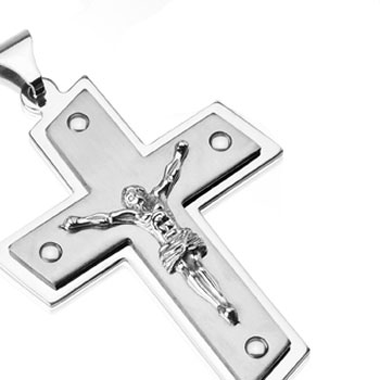 Large Stainless Steel Double Tier Jesus Christ Cross Pendant