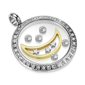 Stainless Steel Gemmed Round Glass Pendant with Floating Moon and CZ