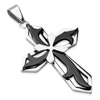 316L Stainless Steel with Tribal Black PVD Cross on Cross Pendant