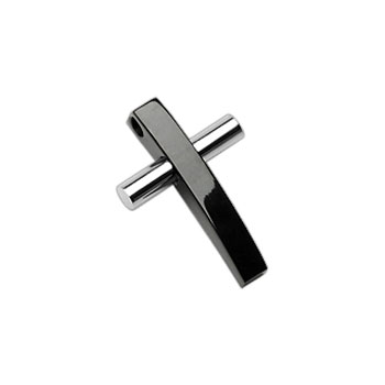 316L Stainless Steel 2 Tone Black And Sliver Cross Pendant