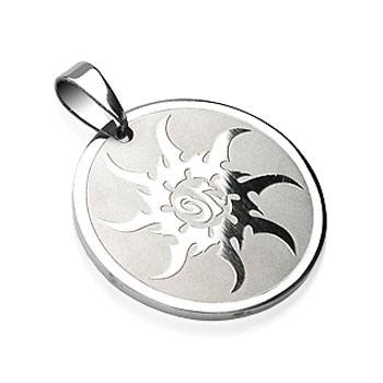 316L Surgical Steel Sunburst Engraved Round Pendant