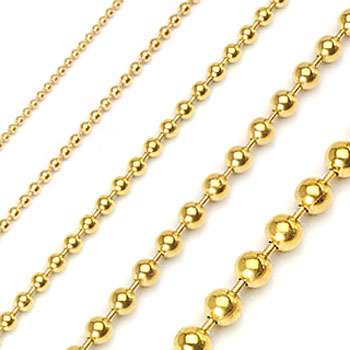 PVD Gold Over 316L Stainless Steel Ball Chain Necklaces