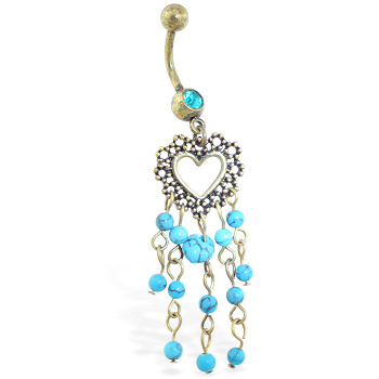 Antique navel ring with dangling heart and Turquoisechandelier