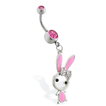 Belly ring with dangling jeweled pink bunny
