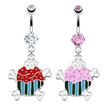 Jeweled belly ring with dangling cupcake and crossbones