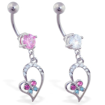 Navel ring with dangling jeweled heart and colorful butterfly