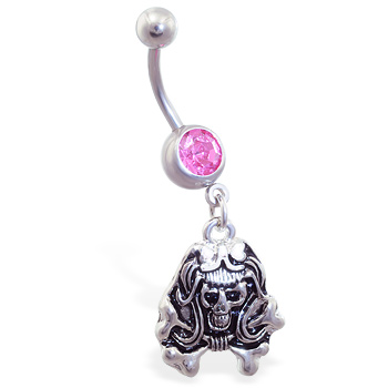 Pink Jeweled Belly Ring with Dangling Girly Skull And Crossbones