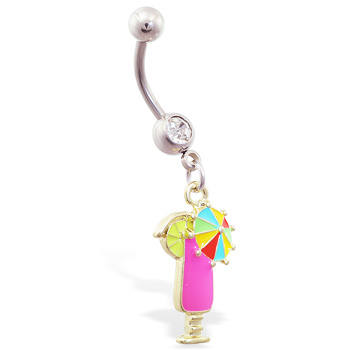 Belly ring with dangling pink drink