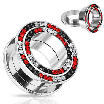 Pair Of Red And Black Jeweled Double Loop Screw-Fit Tunnels