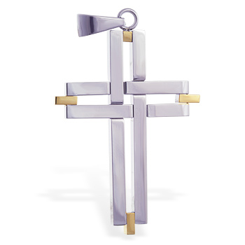 Stainless steel cross pendant with gold colored accents