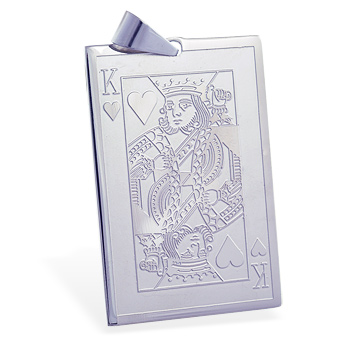 Stainless steel king of hearts card pendant