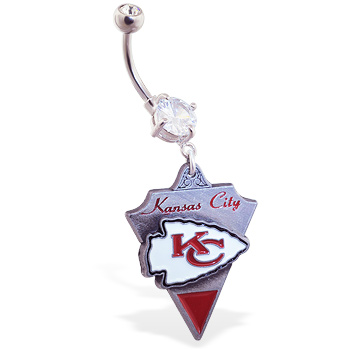 Belly Ring with official licensed NFL charm, Kansas City Chiefs
