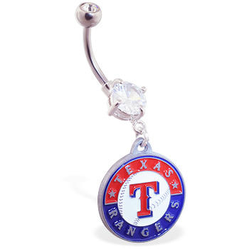 Belly Ring with official licensed MLB charm, Texas Rangers