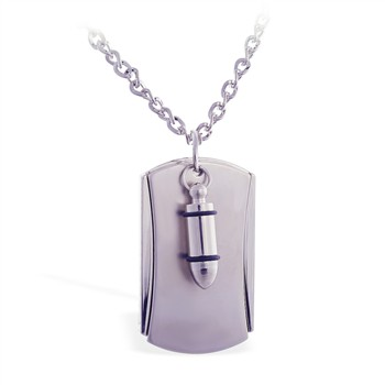 Silver alloy necklace with bullet dog tag pendant