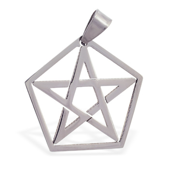 Stainless steel wiccan star pendant