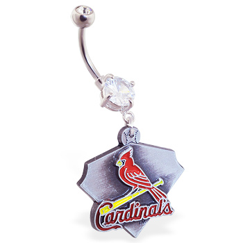 Belly Ring With Official Licensed MLB Charm, St. Louis Cardinals