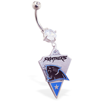 Belly Ring with official licensed NFL charm, Carolina Panthers