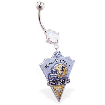 Belly Ring With Official Licensed NFL Charm, New Orleans Saints
