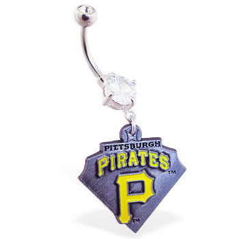 Belly Ring with official licensed MLB charm, Pittsburgh Pirates