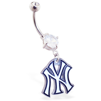 Belly Ring with official licensed MLB charm, New York Yankees