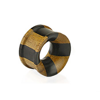 Pair Of Organic Jati & Areng Ebony Wood Concave Double Flared Tunnels
