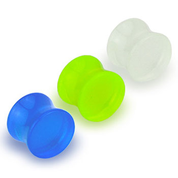 Glow in the Dark acrylic saddle plug, 4 ga