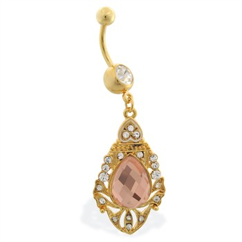 Gold Tone belly ring with dangling royal shield with large gem