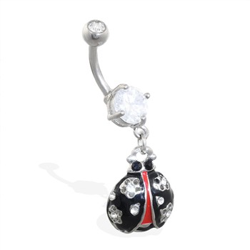 Navel ring with dangling ladybug