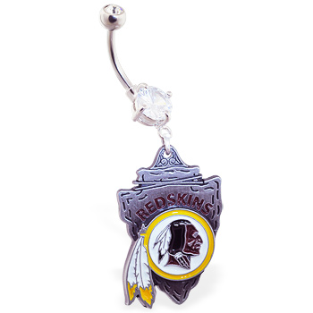Belly Ring with official licensed NFL charm, Washington Redskins