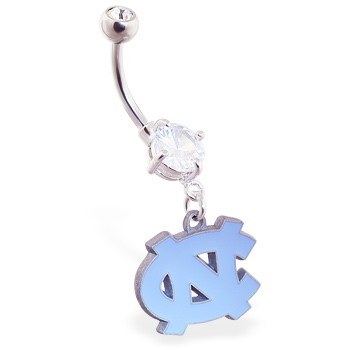 Belly Ring with official licensed NCAA charm, University of North Carolina Tarheels