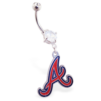 Belly Ring with official licensed MLB charm, Atlanta Braves