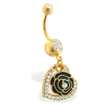 Gold Tone belly ring with dangling rose and heart