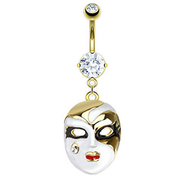 Gold Tone Belly Ring with Dangling Opera Mask