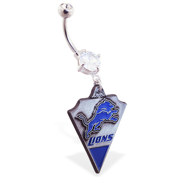 Belly Ring with official licensed NFL charm, Detroit Lions