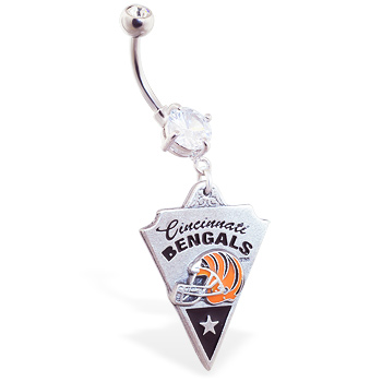 Belly Ring with official licensed NFL charm, Cincinnati Bengals