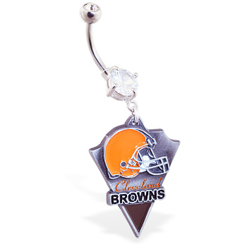 Belly Ring with official licensed NFL charm, Cleveland Browns