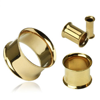 Pair Of Gold Tone Double Flared Tunnels