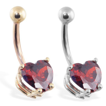 14K Gold belly ring with ruby red 8mm CZ heart